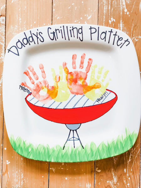 Dad's Grill Platter Custom Handprint Platter with writing and border