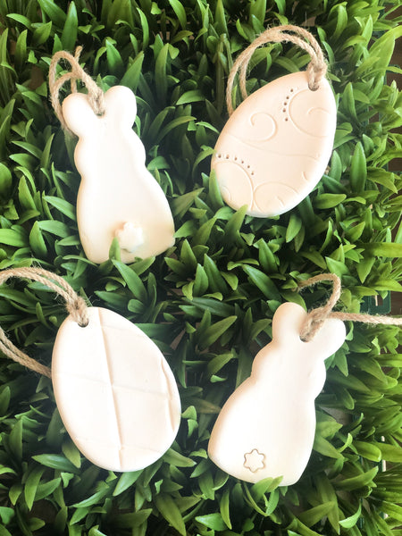Clay Ornaments (2 Eggs + 2 Bunnies)