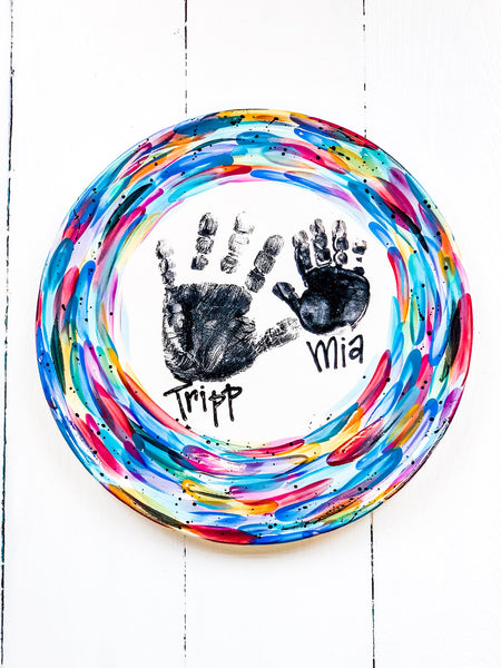 Handprint Plate/Platter with Custom border and writing