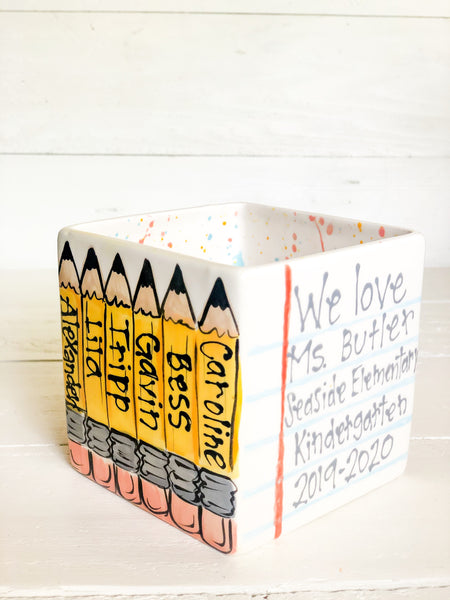 Custom Teacher Gift Pencil Holder/Vase (Pencil Design)