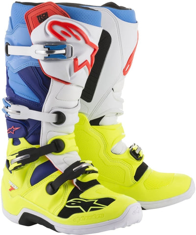 Alpinestars Tech 7 Boots - Fluo Yellow/Blue/White Cyan