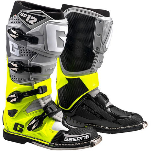 Gaerne SG-12 MX Boots - Grey/Yellow Fluo/Black