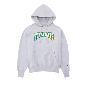 STRAY RATS Two-Tone College Arch Hoodie -GRAY