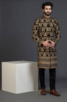Black Velvet sherwani with Computerized embroidery design