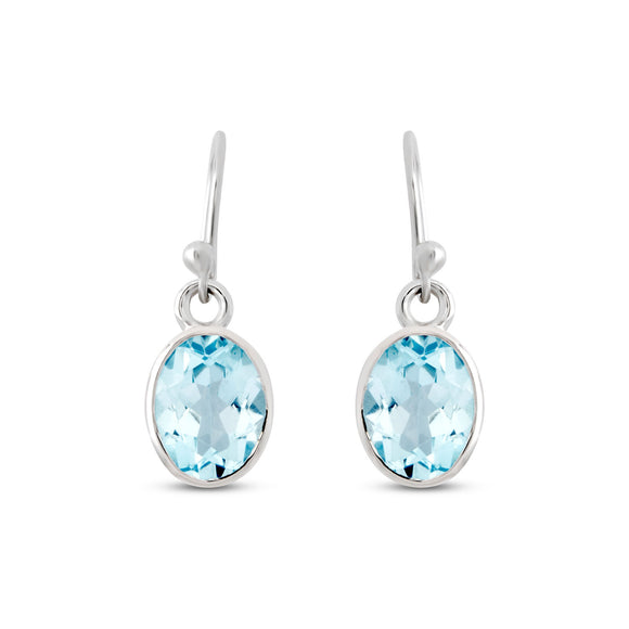 Earring Sterling Silver Blue Topaz Oval Faceted
