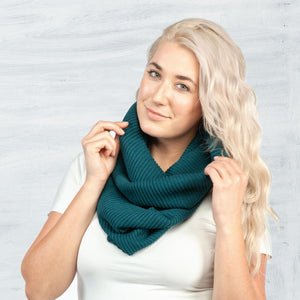 Maggie's Organics- Ribbed Infinity Scarf- Teal