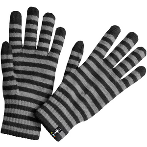 Smartwool - Striped Liner Glove - Black and Gray