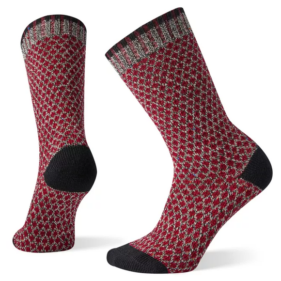 Smartwool - Women's Popcorn Polka Dot Crew Sock- Black/ Tibetan Red