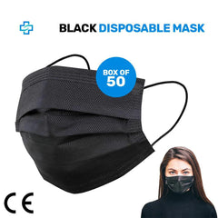Pack of 50x BLACK MEDICAL Disposable Face Mask 3 ply