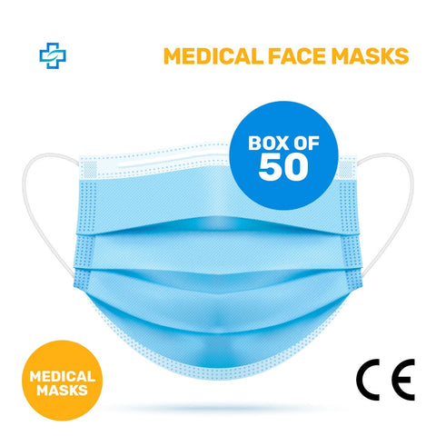 Pack of 50x MEDICAL Face Mask with CE Mark 3 ply (0.17€ each)