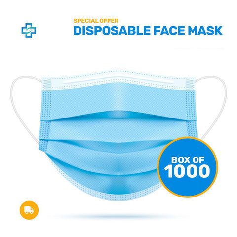 1000x MEDICAL Disposable Face Mask for Business 3 ply (only 9 cents each)