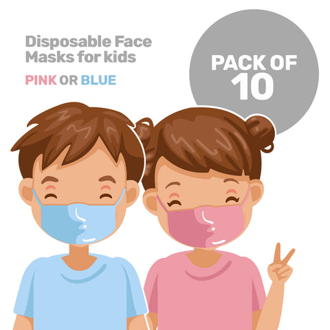Pack of 10x Disposable Face Masks for Kids
