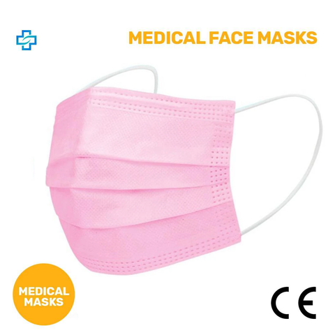 Pack of 50x PINK MEDICAL Disposable Face Mask 3 ply