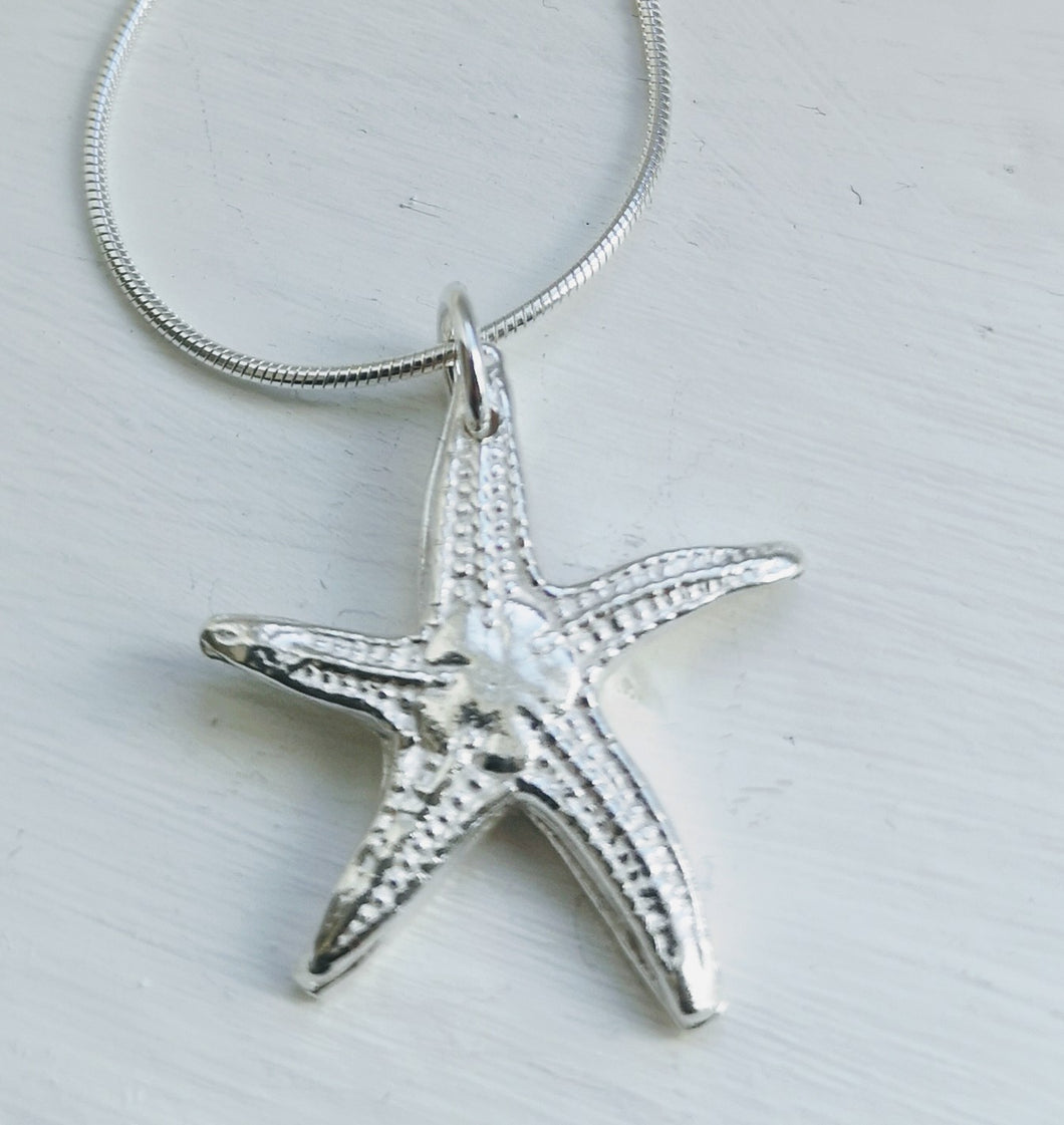 Solid Silver Starfish Pendant