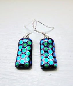 Electric blue dichroic glass silver earrings