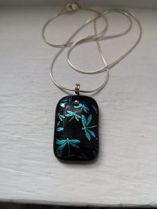 Dragonfly dichroic glass pendant with handmade silver fittings & silver snake chain
