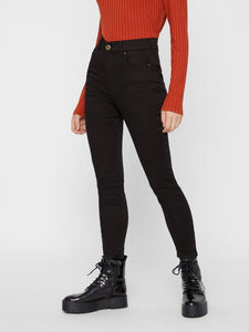 High-waisted black skinny jeans