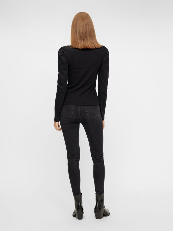 Black ribbed jersey top