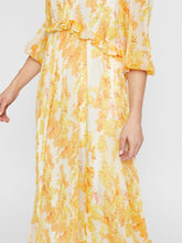 Load image into Gallery viewer, Yellow puff sleeve maxi dress