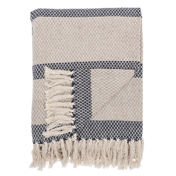 Blue & cream striped throw