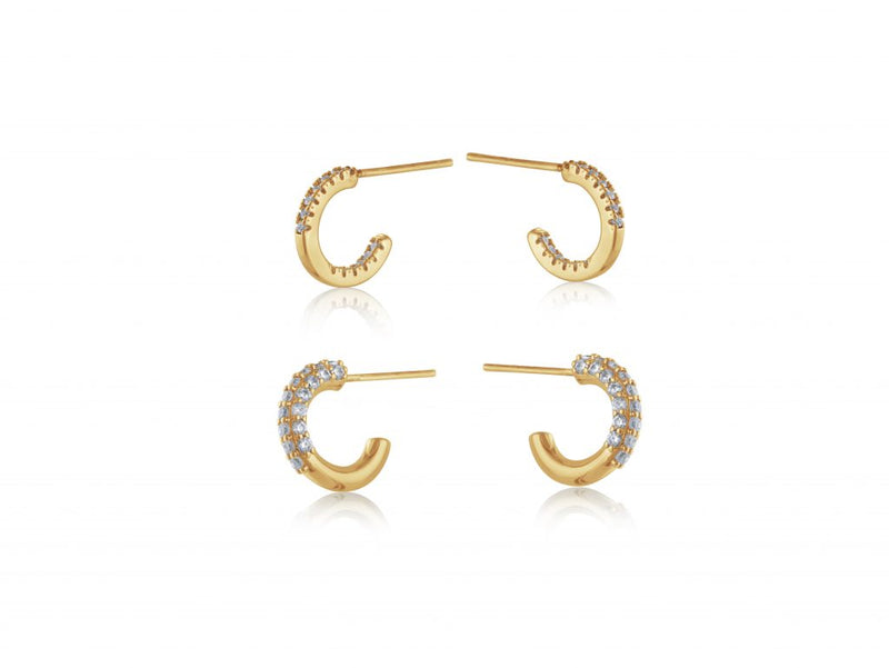 Camille Pack Of Encrusted Hoops gold