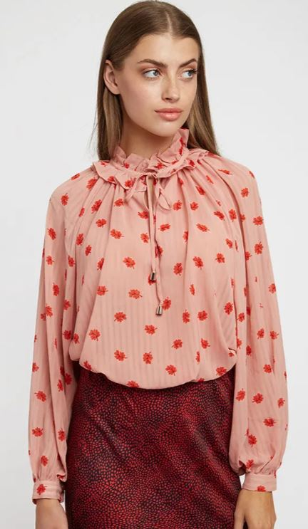 Pink tie neck blouse
