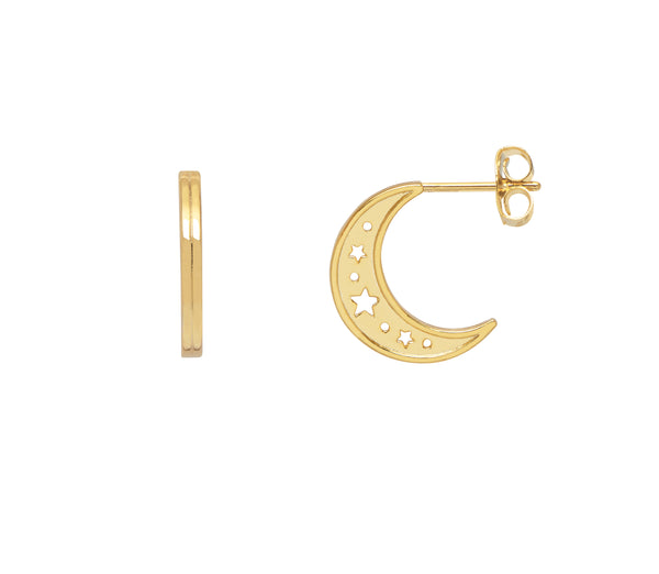 Moon Hoop Earrings - Gold