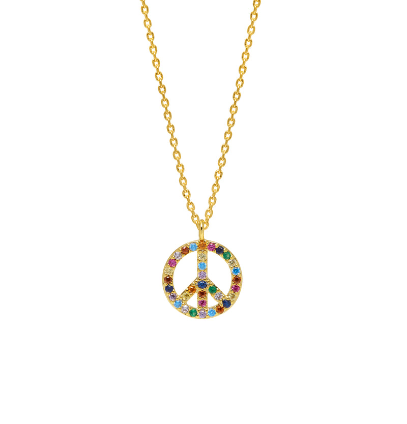 Peace Symbol Necklace - Gold