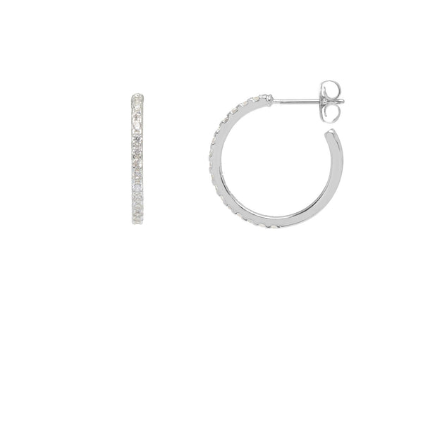 Pave Set Large Hoop Earrings