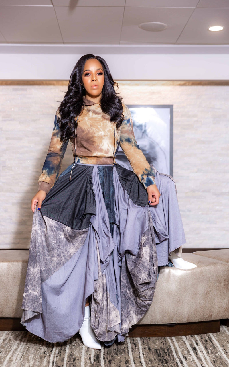 Denim Dopeness Maxi Skirt-CHARCOAL