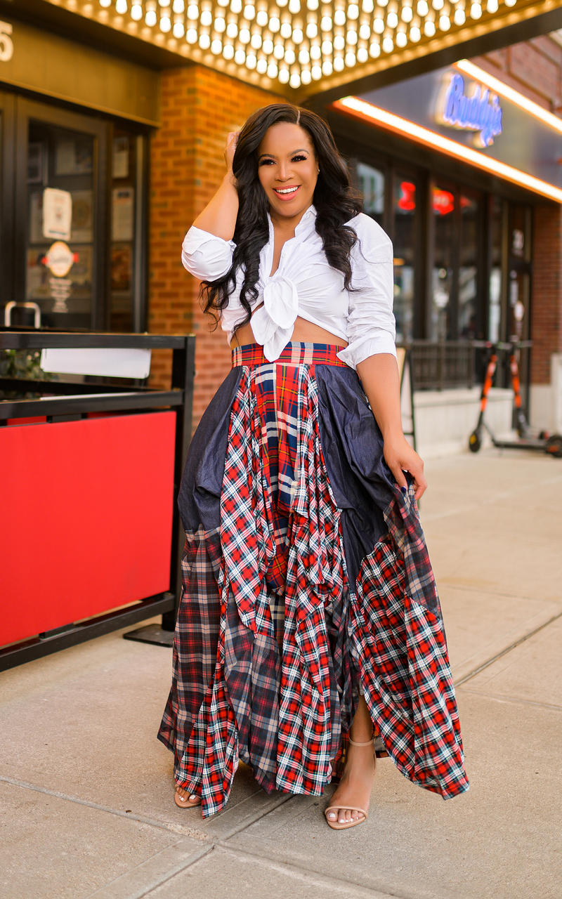 Denim & Plaid | Maxi Skirt