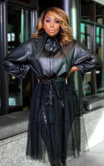 Faux Leather Tulle Jacket