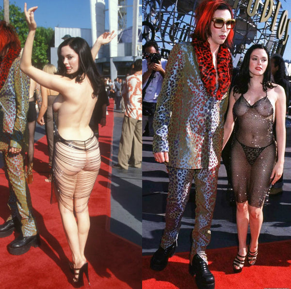Rose McGowan MTV Movie Awards 1998 Sheer Mesh Dress - One Boutique Blog