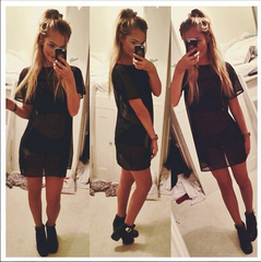 Black Mesh T-Shirt Dress on the One Boutique Instagram Feed