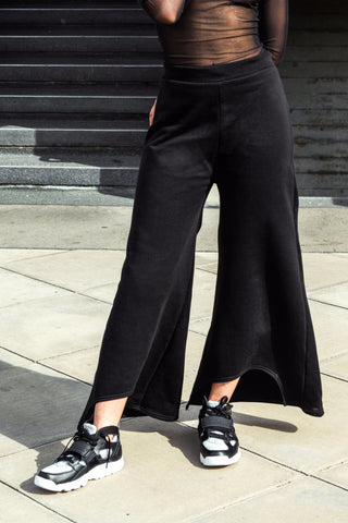 Black Cutout Flared Trousers