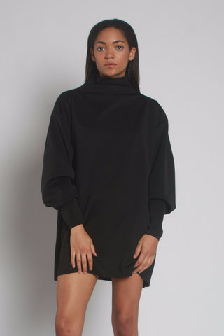 Oversized Black Neoprene Turtleneck Jumper - closeup - by One Boutique