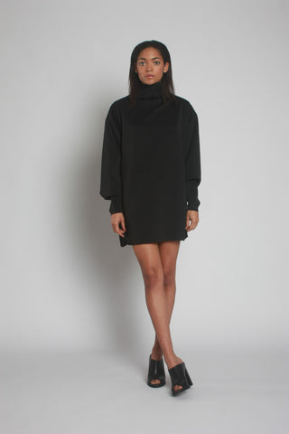 Oversized Black Neoprene Turtleneck Jumper Front View by One Boutique