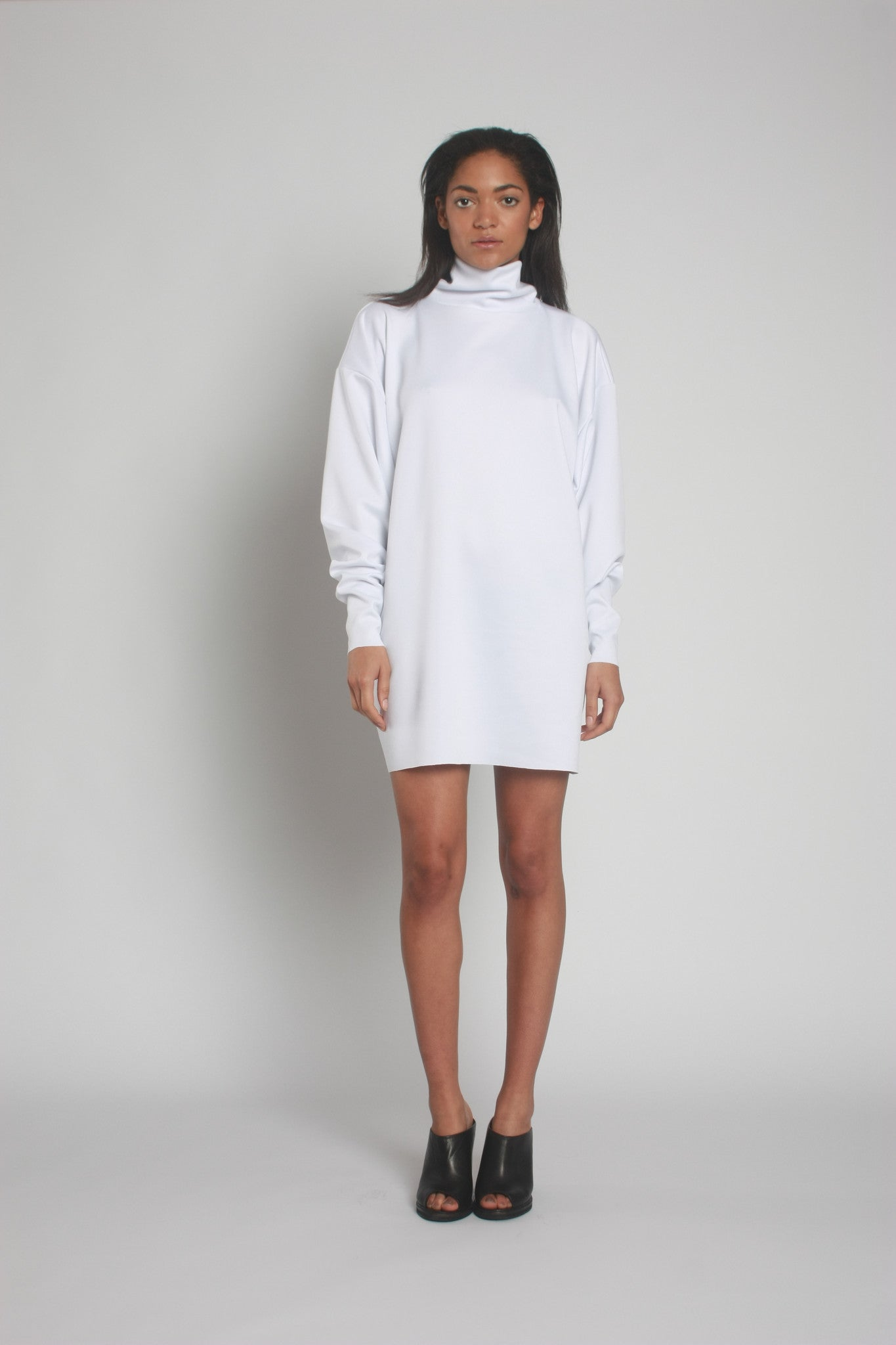 White Oversized Neoprene Turtleneck Jumper front view - by One Boutique