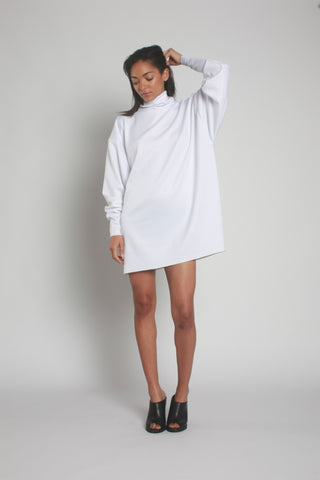 White Oversized Neoprene Turtleneck Jumper front view 2 - by One Boutique