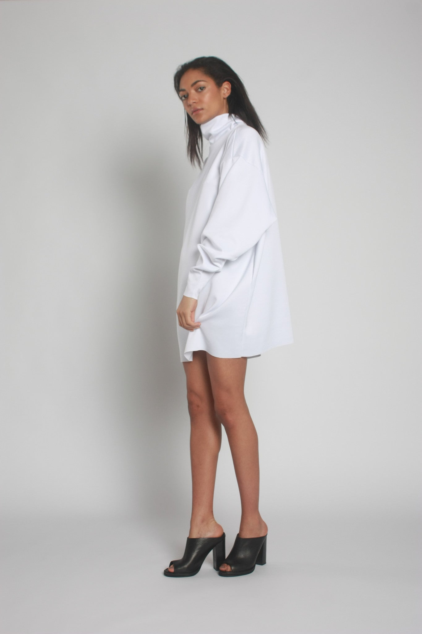 White Oversized Neoprene Turtleneck Jumper side view - by One Boutique