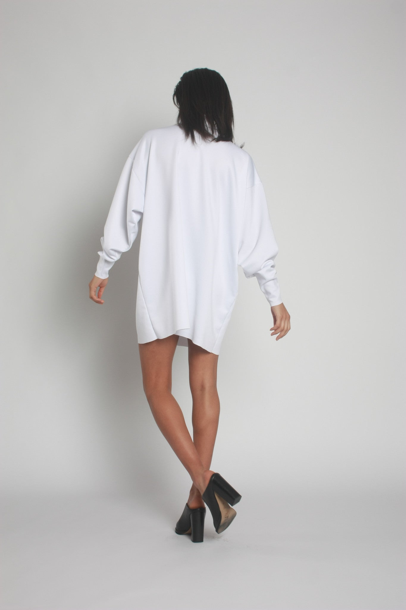White Oversized Neoprene Turtleneck Jumper back view - by One Boutique