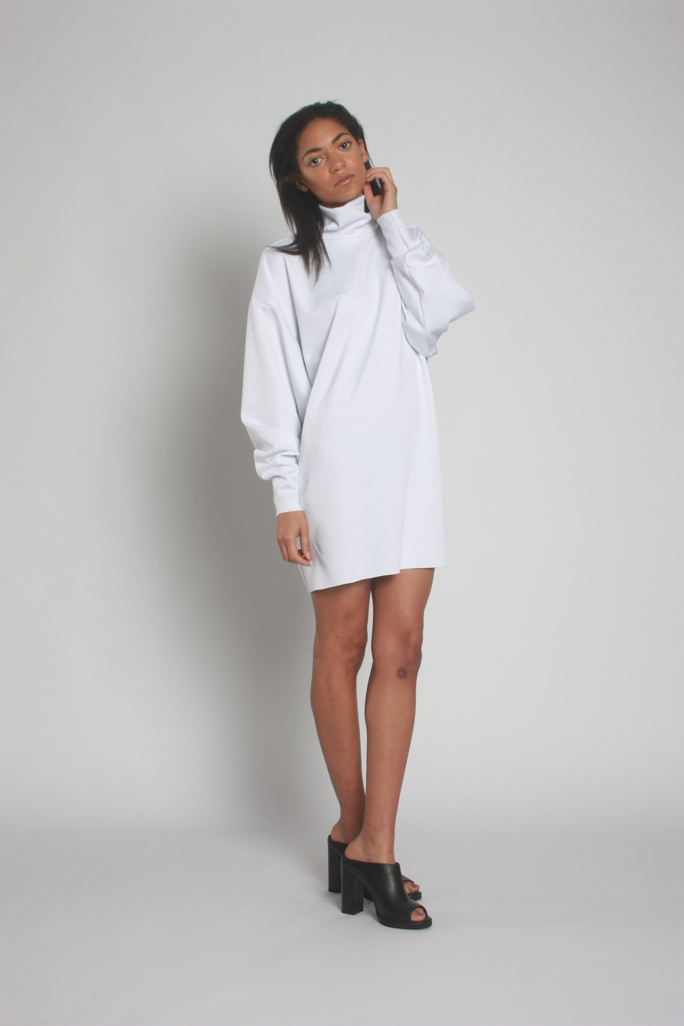 White Oversized Neoprene Turtleneck Jumper front view 3 - by One Boutique