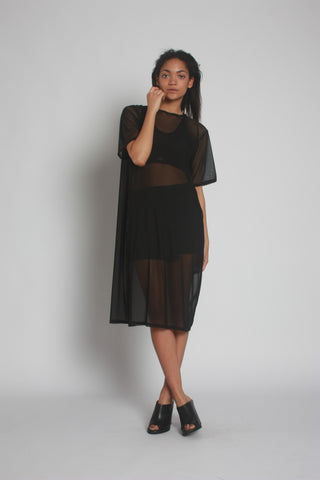 Black Oversized Mesh Midi Dress by One Boutique 1