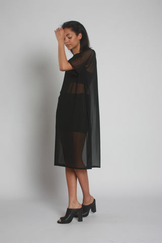 Black Oversized Mesh Midi Dress by One Boutique 2