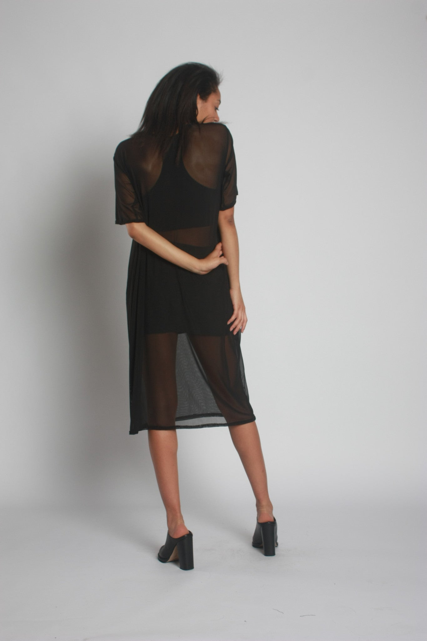 Black Oversized Mesh Midi Dress by One Boutique 4