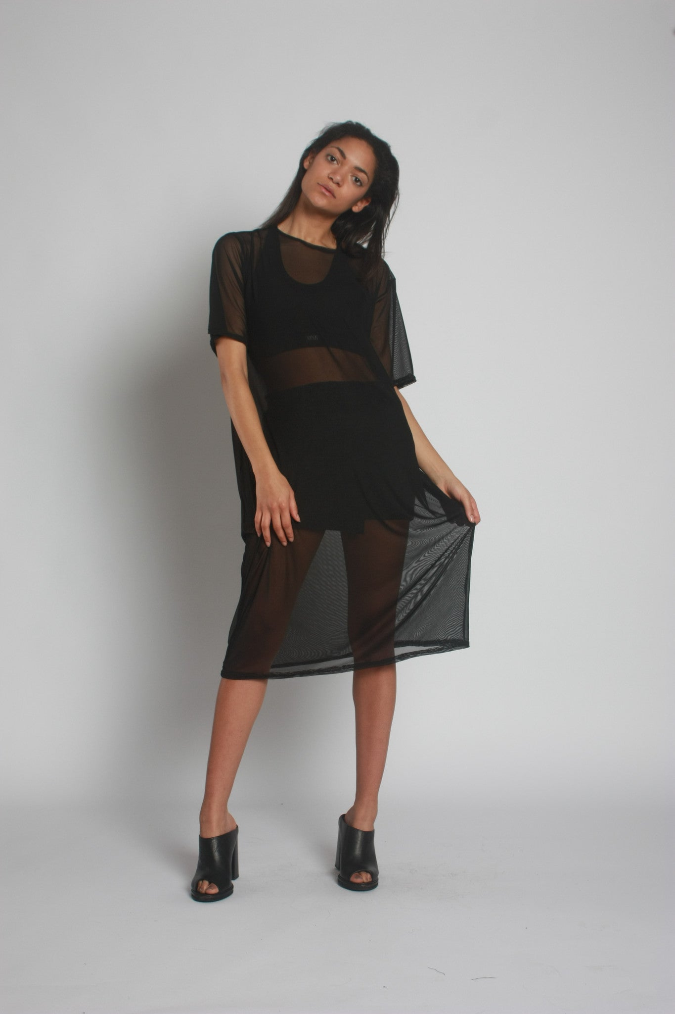 Black Oversized Mesh Midi Dress by One Boutique 5