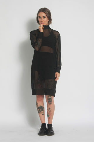 Black Jumper Dress - Mesh Turtleneck - One Boutique - Front View