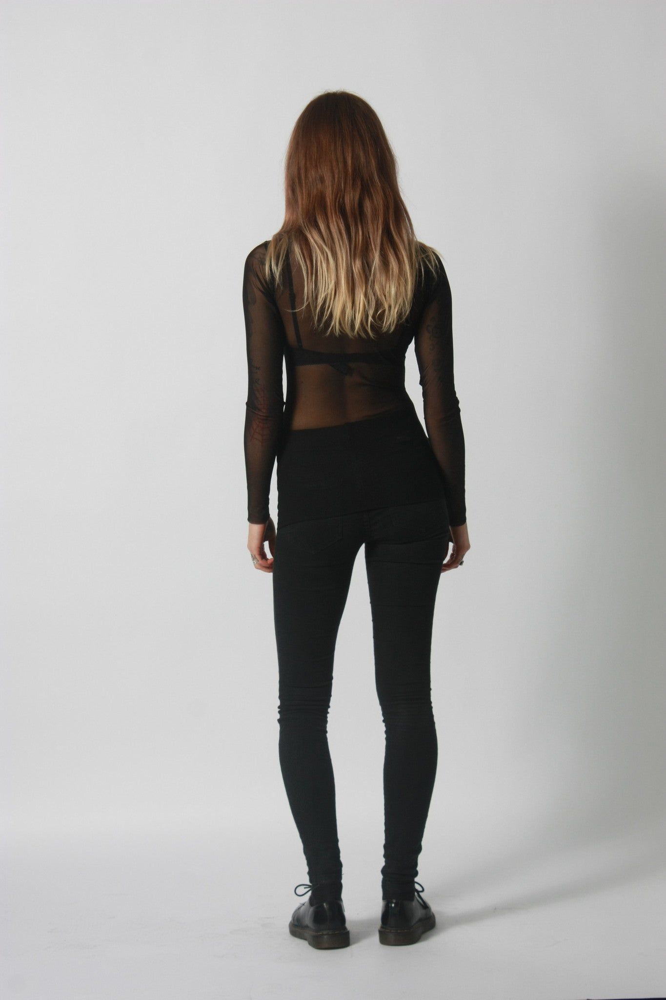 Black Mesh Turtleneck Full-Length Top