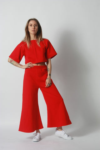 Red Cropped Sweatshirt Flares by One Boutique 6