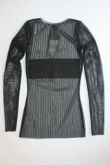 Black Mesh Turtleneck Panel Top